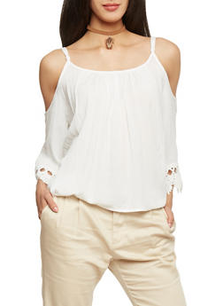 Crinkle Knit Cold Shoulder Top with Crochet Sleeves - OFF WHITE - 1004054269297