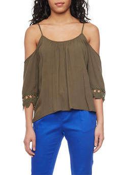 Crinkle Knit Cold Shoulder Top with Crochet Sleeves - OLIVE - 1004054269297