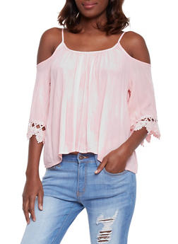 Crinkle Knit Cold Shoulder Top with Crochet Sleeves - 1004054269297