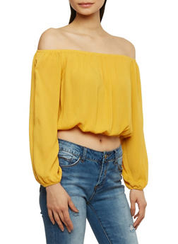 Solid Long Sleeve Off the Shoulder Top - 1004054269299