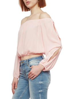 Solid Long Sleeve Off the Shoulder Top - BLUSH - 1004054269299