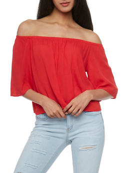 Off The Shoulder 3/4 Sleeve Top - 1004054269389