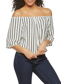 Crepe Knit Striped Off the Shoulder Top - 1004054269457