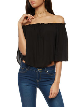 Bell Sleeve Off the Shoulder Top - 1004054269706