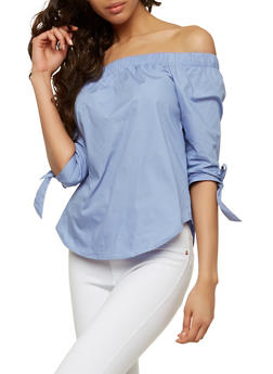 Off the Shoulder Poplin Top - 1004054269745