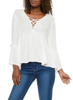 Bell Sleeve Caged Neck Babydoll Top - WHITE - 1004054269826