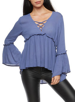 Bell Sleeve Caged Neck Babydoll Top - 1004054269826