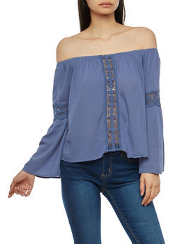 Crochet Insert Off the Shoulder Top - 1004054269828