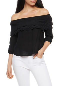 Crepe Knit Off the Shoulder Top with Overlay - 1004054269832