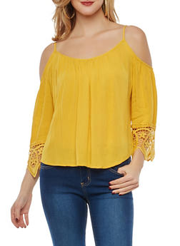 Crochet Trim Cold Shoulder Top - 1004054269836