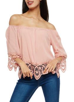 Gauze Knit Off the Shoulder Top with Crochet Trim - 1004054269865