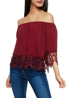 Gauze Knit Off the Shoulder Top with Crochet Trim - 1004054269865