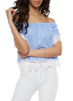 Striped Crochet Trim Off the Shoulder Top - 1004054269876