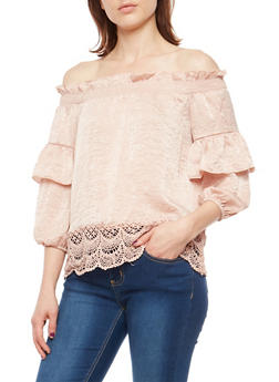Ruffled Off the Shoulder Top with Crochet Hem - 1004058750176