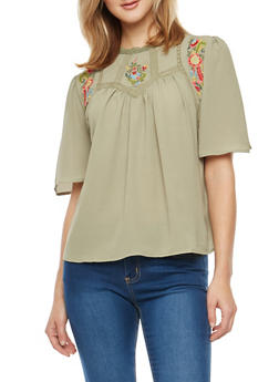 Crepe Knit Floral Embroidered Blouse - 1004058750223
