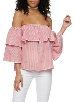 Striped Off the Shoulder Ruffle Detail Top - 1004058750224