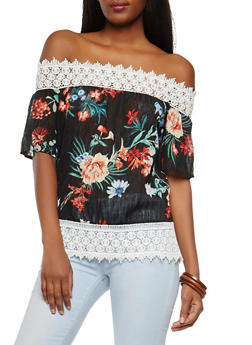 Floral Crochet Trim Off the Shoulder Top - 1004058750343