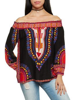 Off the Shoulder Peasant Top in Dashiki Print - 1004058750444