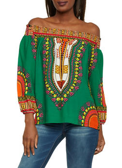 Off the Shoulder Peasant Top in Dashiki Print - EMERALD - 1004058750444