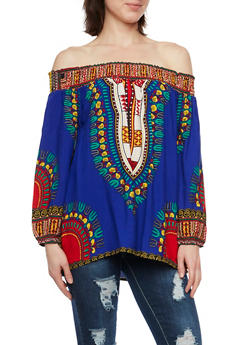 Off the Shoulder Peasant Top in Dashiki Print - RYL BLUE - 1004058750444