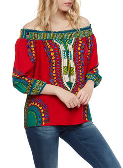 Off the Shoulder Peasant Top in Dashiki Print - RED - 1004058750444