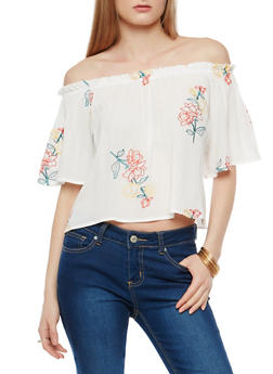 Gauze Knit Embroidered Off the Shoulder Top - 1004058750477