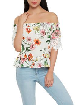 Floral Crochet Trim Off the Shoulder Top - 1004058750484