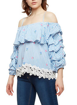 Off the Shoulder Striped Floral Top - 1004058750522