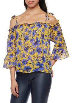 Tied Off the Shoulder Top in Floral Print - 1004058750564