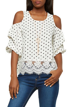 Polka Dot Cold Shoulder Top with Necklace - 1004058750570