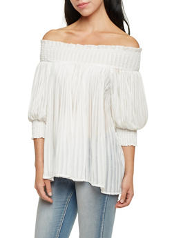 Pleated Off the Shoulder Top - IVORY - 1004058750616