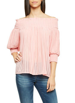 Pleated Off the Shoulder Top - BLUSH - 1004058750616