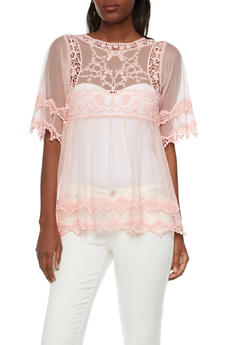 Sheer Mesh Top with Crochet Trim - 1004058750713