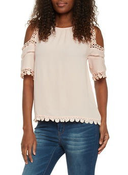 Cold Shoulder Applique Trim Crepe Blouse - 1004058750763