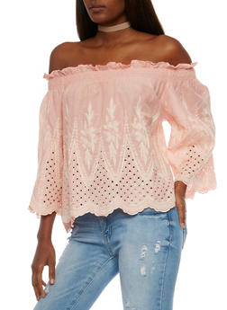 Off the Shoulder Crochet Peasant Top - 1004058750795