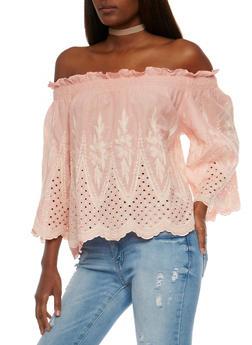 Off the Shoulder Crochet Peasant Top - 1004058750795