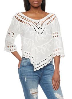 Handkercheif Hem Crochet Details Peasant Top - 1004058750907