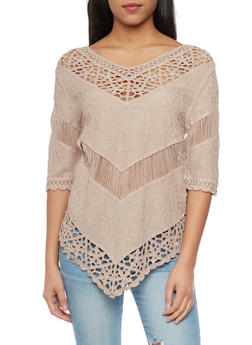 3/4 Sleeve Crochet and Embroidered Top - 1004058750913