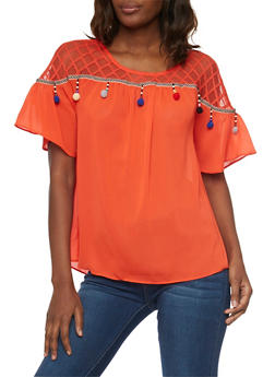Mesh Yoke Short Bell Sleeve Shirt with Pom Pom Detail - 1004058750945