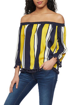 Striped Off the Shoulder Blouse with Pom Pom Trim - 1004058750977