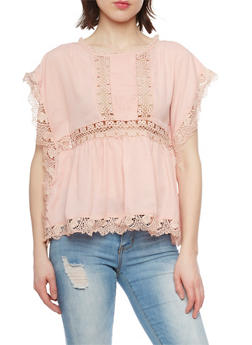 Cap Sleeve Crochet Cutout Peasant Top - 1004058751010