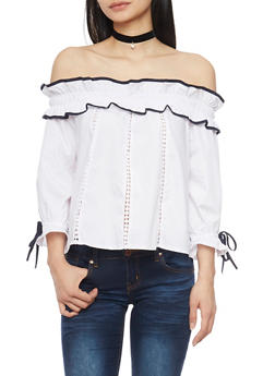 Ruffled Off The Shoulder Tie Sleeve Top with Crochet Accents - 1004058751076