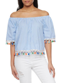 Striped Off the Shoulder Blouse with Multi Color Tassel Trim - 1004058751090