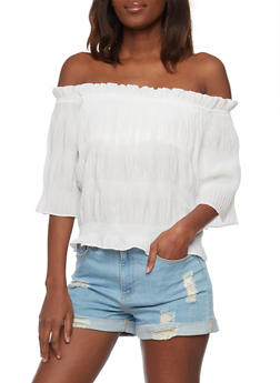 Off The Shoulder 3/4 Sleeve Crinkle Knit Top - 1004058751104