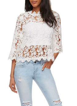 3/4 Sleeve Crochet Top with Bell Sleeves - WHITE - 1004058751147