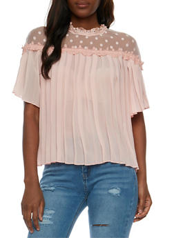 Pleated Mesh Yoke Top with Scallop Trim - 1004058751211