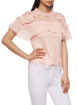 High Neck Lace Blouse with Ruffle Trim - 1004058751276