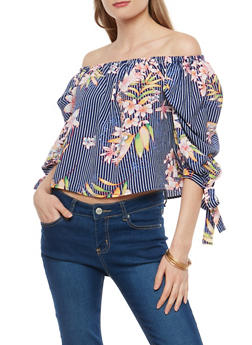 Floral Crepe Knit Off the Shoulder Top - 1004058751514