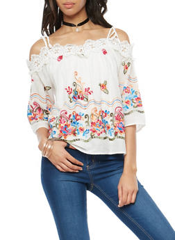 Embroidered Off the Shoulder Top with Choker - 1004058752104