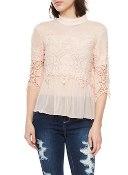Mesh Top with Lace Accents - BLUSH - 1004058753282